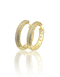 Fashion Gold Plating Gold-plated Zirconium Hollow Earrings