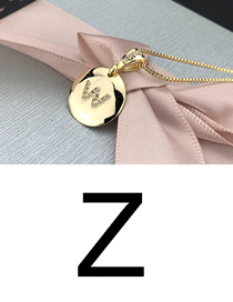 Fashion Z Gold Glossy Diamond-plated Copper Plated Zircon English Alphabet Curved Necklace