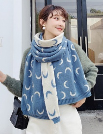 Fashion Water Blue Cashmere Crescent Moon Pattern Scarf Shawl Dual Purpose