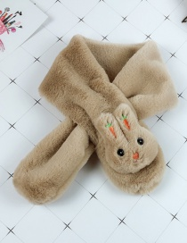 Fashion Khaki Cartoon Rabbit Furry Cross Children's Bib