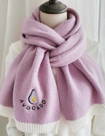 Fashion Toon Purple Avocado Pattern Knitted Wool Scarf Shawl Dual Purpose