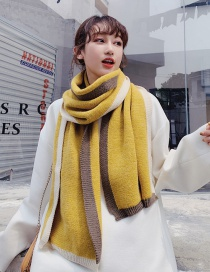 Fashion Yellow Imitation Cashmere Color Matching Scarf Shawl Dual Purpose