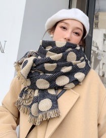 Fashion Black Rice Thickened Polka Dot Shawl Scarf