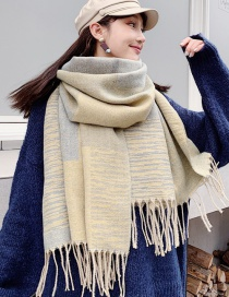 Fashion Light Yellow Ash Plaid Color Matching Cashmere Scarf Shawl