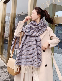 Fashion Blue Rice Woven Plaid Shawl Scarf Dual Purpose
