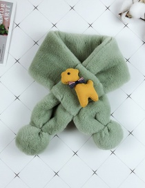 Fashion Green Child Parent-child Imitation Rabbit Fur Cartoon Puppy Bib