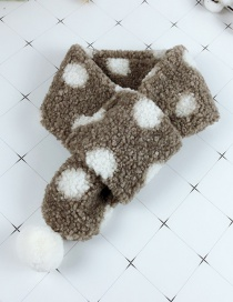 Fashion Brown Cross Plush Polka Dot Hair Ball Children's Scarf