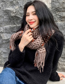 Fashion Brown Houndstooth Scarf Shawl