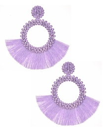 Fashion Purple Felt Cloth With Diamond Round Tassel Earrings