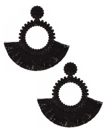 Fashion Black Felt Cloth With Diamond Round Tassel Earrings