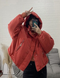 Fashion Red Hooded Coat