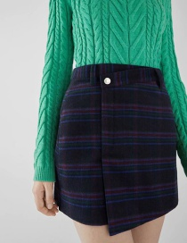 Fashion Navy Plaid Skirt