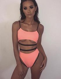 Fashion Pink Bandage Stitching High Waist Split Swimsuit