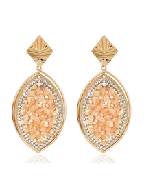 Fashion Yellow Colored Natural Gravel Color Earrings