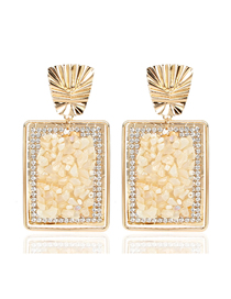 Fashion Creamy-white Square Gravel Earrings
