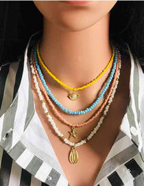 Fashion Mix Color Beaded Shell Starfish Rice Bead Necklace