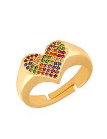 Fashion Gold Heart-studded Diamond Ring