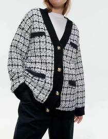 Fashion Black And White Tweed Knit Cardigan