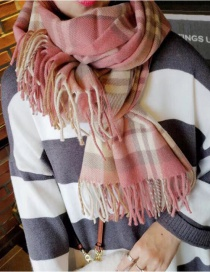 Fashion Pink Plaid Korean Plaid Imitation Cashmere Tassel Scarf Shawl
