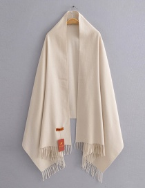 Fashion Beige Solid Color Cashmere Fringed Scarf Shawl