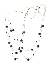 Fashion Black Crystal Double Sweater Chain Glasses Chain Two Models