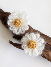 Fashion White Plus Yellow Earrings Flower Plush Woven Earrings