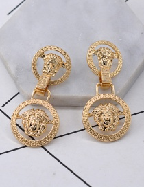Fashion Gold Full Diamond Round Lion Head Earrings