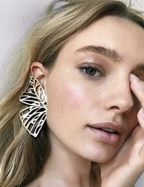 Fashion Gold Plated Gold Cutout Butterfly Wings Earrings