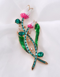 Fashion Gold Tulip Rhinestone Brooch