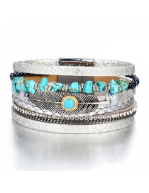 Fashion Silver Artificial Leather Feather Turquoise Magnetic Buckle Leather Bracelet