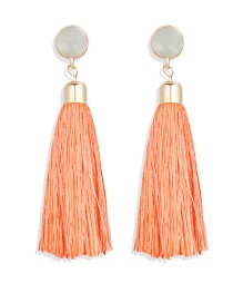 Fashion Orange Fringed Inlaid Acrylic Earrings