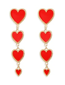 Fashion Red Fringed Heart-shaped Earrings