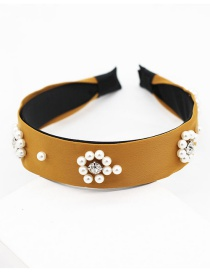 Fashion Yellow Pearl-studded Headband