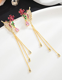 Fashion Gold S925 Sterling Silver Needle Micro Inlaid Zircon Butterfly Earrings