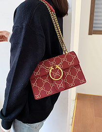 Fashion Red Wine Lingge Chain Velvet Crossbody Bag