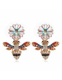Fashion Color Alloy Bee Flower Stud Earrings