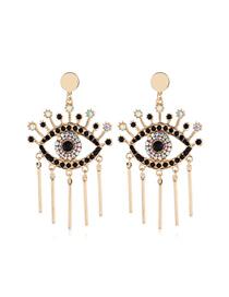 Fashion Black Eye Geometry Square Diamond Earrings