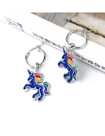 Fashion Silver Blue Open Unicorn Earrings