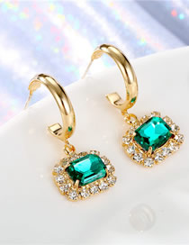 Fashion Green Round Crystal Diamond Earrings