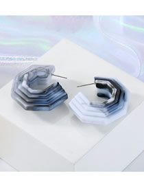 Fashion Gray Acrylic C-shaped Textured Earrings