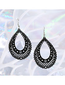 Fashion Black Geometric Openwork Carved Leaf Earrings