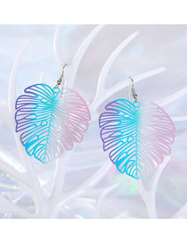 Fashion Color Geometric Openwork Carved Leaf Earrings