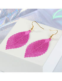 Fashion Rose Red Multi-layer Openwork Leaf Earrings