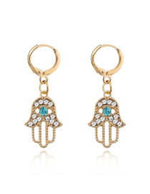 Fashion Gold Openwork Palm Eye Diamond Earrings