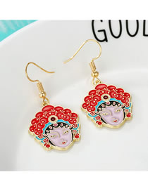 Fashion Color Peking Opera Face Earrings