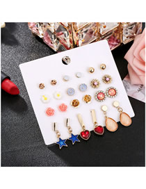 Fashion Color Small Daisy Pentagram Drop Earrings