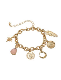 Fashion Gold Moon Leaf Geometric Beauty Head Bracelet