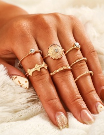 Fashion Gold Lace-set Round Sun Flower Ring Set Of 7