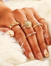 Fashion Gold Diamond Knotted Badge Character Image Ring Set Of 5