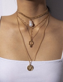 Fashion Gold Ring Embossed Multi-layer Lock-shaped Imitation Pearl Necklace